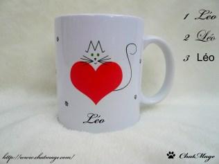 Mug ChatMage Le coeur sur la patte, mug chat, mug coeur, mug personnalisable