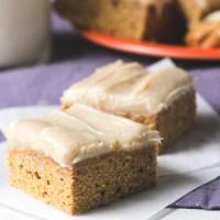 One-Bowl Pumpkin Blondies with Brown Sugar Cream Cheese Icing