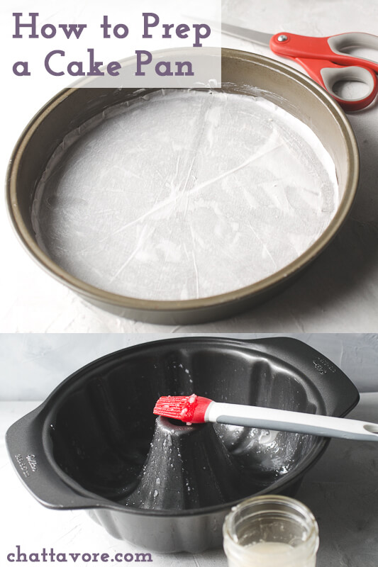 a photograph of a round cake pan lined with parchment paper with a pair of scissors in the back ground and a photo of a bundt pan brushed with homemade cake release with a pastry brush and the jar of cake release in the photo