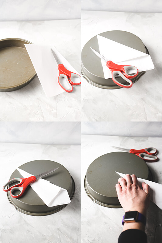 a photo collage showing parchment paper being prepared to line a round cake pan for baking a cake