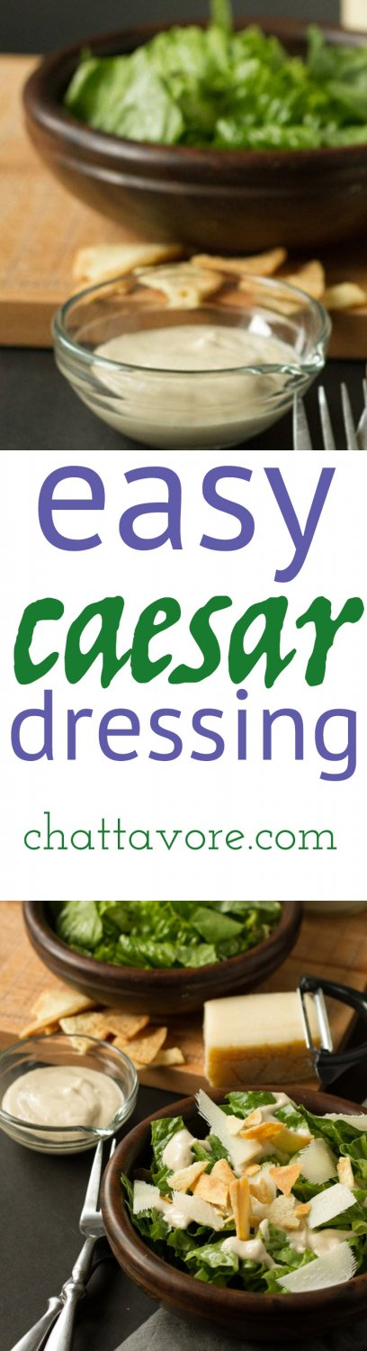 This easy caesar dressing is easy to make in your blender or food processor and requires no eggs, so it lasts a long time. And it's SO tasty! | recipe from Chattavore.com