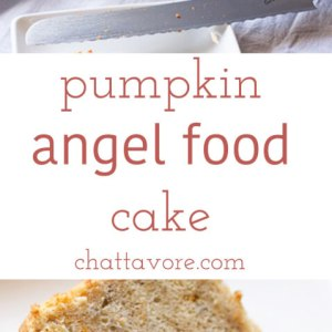 Most pumpkin angel food cake on the interwebs is made from a mix, but my pumpkin angel food cake is from scratch, and it is fabulous! | recipe from Chattavore.com
