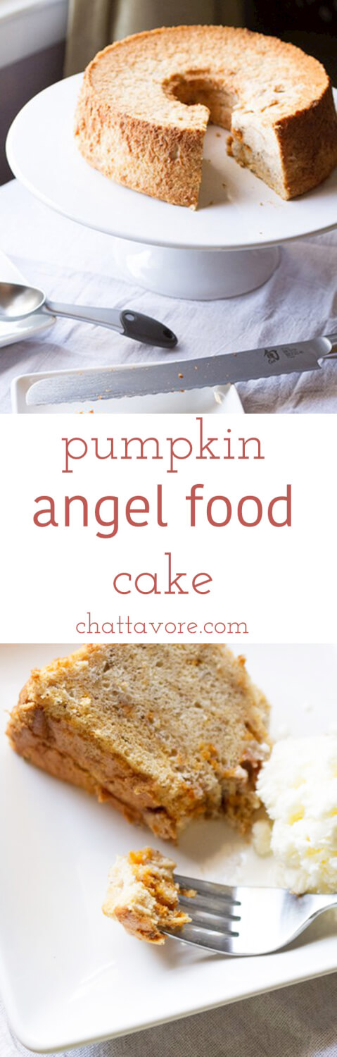 a photo collage with a photograph of a pumpkin angel food cake from scratch on a cake stand with a slice cut out of it and a photograph of a slice of pumpkin angel food cake on a plate with a scoop of ice cream and a fork with a bite of pumpkin angel food cake on it