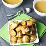 Easy Beer-Cheese Soup & Pretzel Bites