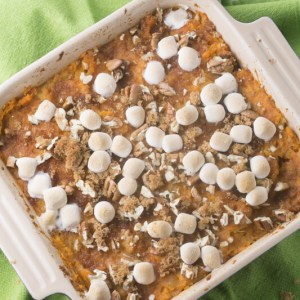 Sweet potato pineapple casserole is sweet, but not too sweet, and is topped with ALL the good stuff. It's a perfect Thanksgiving side dish!   Recipe from Chattavore.com