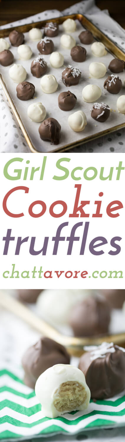 Girl Scout cookies are great for these cookie truffles, but you can use any cookies if you want to have cookie truffles year-round!   Recipe from Chattavore.com