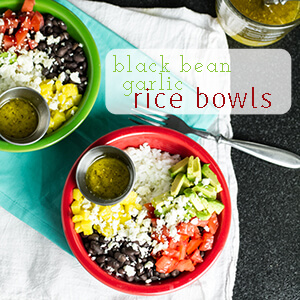 Black bean garlic rice bowls (chicken optional!) are a quick, easy, and fresh one-bowl lunch or dinner!   chattavore.com