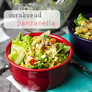 This cornbread panzanella is a lightened-up version of cornbread salad that can be served as a main dish or a side! | chattavore.com