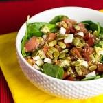 Spinach Caprese Salad with Pesto Dressing