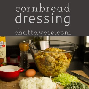 This biscuit and cornbread dressing is full of traditional flavors and is perfect on your Thanksgiving table. And in the South, it's always called dressing, y'all! | chattavore.com