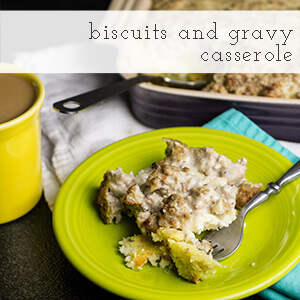 Biscuits and gravy casserole has all of your favorite components of a good old Southern breakfast baked into one dish. It's great for your Southern Christmas breakfast! | chattavore.com