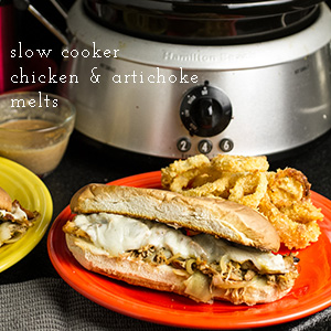 Slow cooker chicken and artichoke melts are so simple but incredibly gooey, cheesy, and tasty! | recipe from chattavore.com
