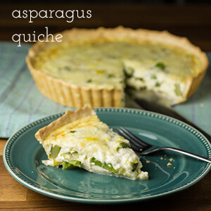 """Asparagus quiche is an easy and tasty dish that's perfect for breakfast, lunch, or dinner (or brunch!) and just screams """"Spring!!! 