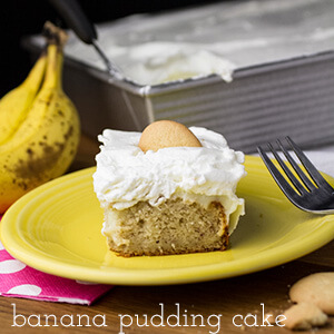 Banana pudding cake is a from-scratch poke cake with all the ingredients of a classic banana pudding. It's an amazing, flavorful addition to your Easter baking! | recipe from Chattavore.com