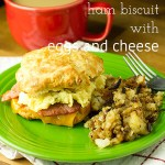 Ham Biscuit with Eggs and Cheese