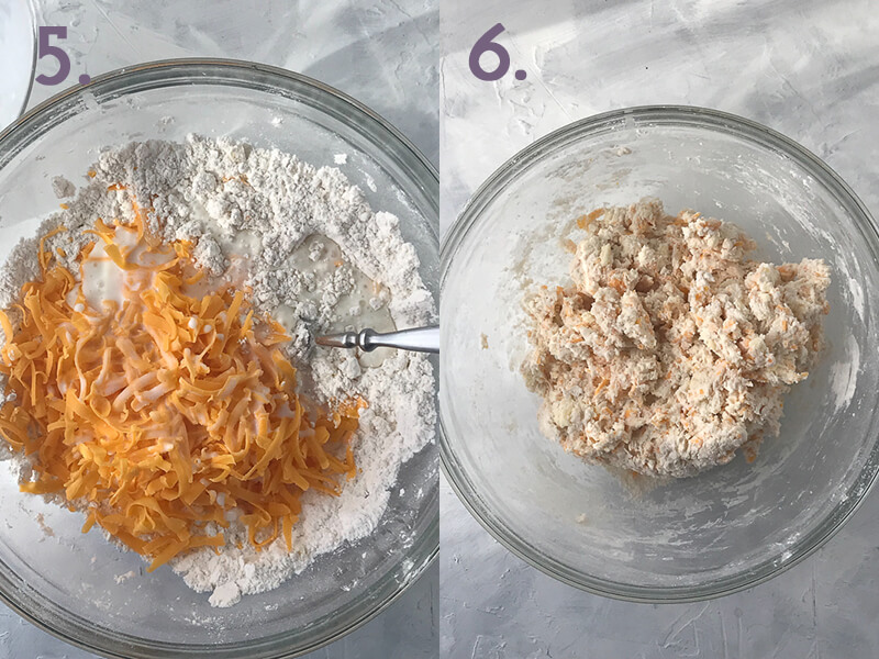 a photo collage showing cheddar cheese and buttermilk being added to garlic cheddar biscuit dough and the finished dough