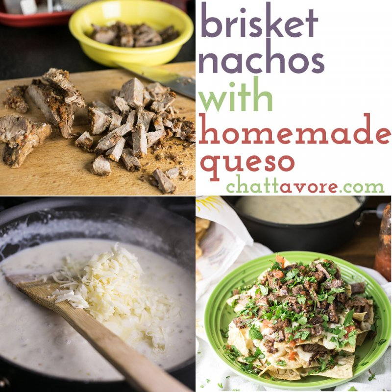 I can't think of a better way to use up leftover brisket than these brisket nachos. With homemade queso, they're easy and fabulously tasty. | recipe from Chattavore.com
