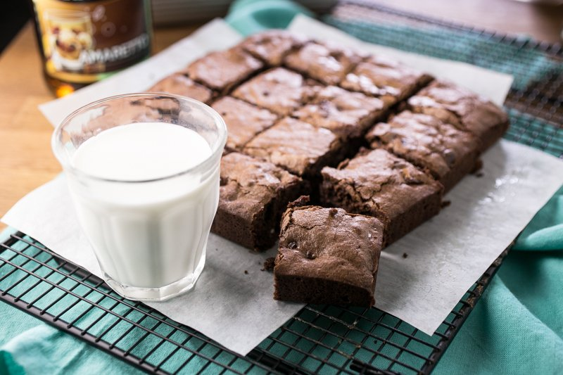 Amaretto brownies are rich and fudgy with a deep almond flavor and so much chocolate that you'll need a glass of milk to eat them. | recipe from Chattavore.com