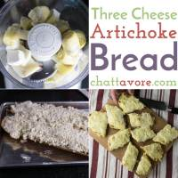 Three cheese artichoke bread is cheesy and so tasty. It's perfect as a snack or appetizer or even as the bread with your meal.   recipe from Chattavore.com