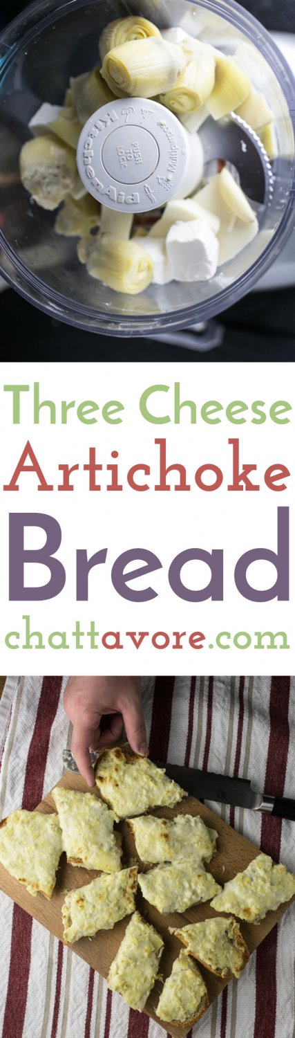 Three cheese artichoke bread is cheesy and so tasty. It's perfect as a snack or appetizer or even as the bread with your meal. | recipe from Chattavore.com