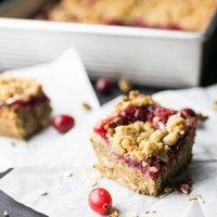 These cranberry bars are not necessarily quick, but they're mixed right in the pan, so they're so easy, and they're DELICIOUS! | recipe from Chattavore.com