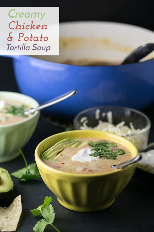 This creamy chicken and potato tortilla soup, a recipe suggested by a reader, combines two favorites: chicken tortilla soup and creamy potato soup. | Recipe from Chattavore.com