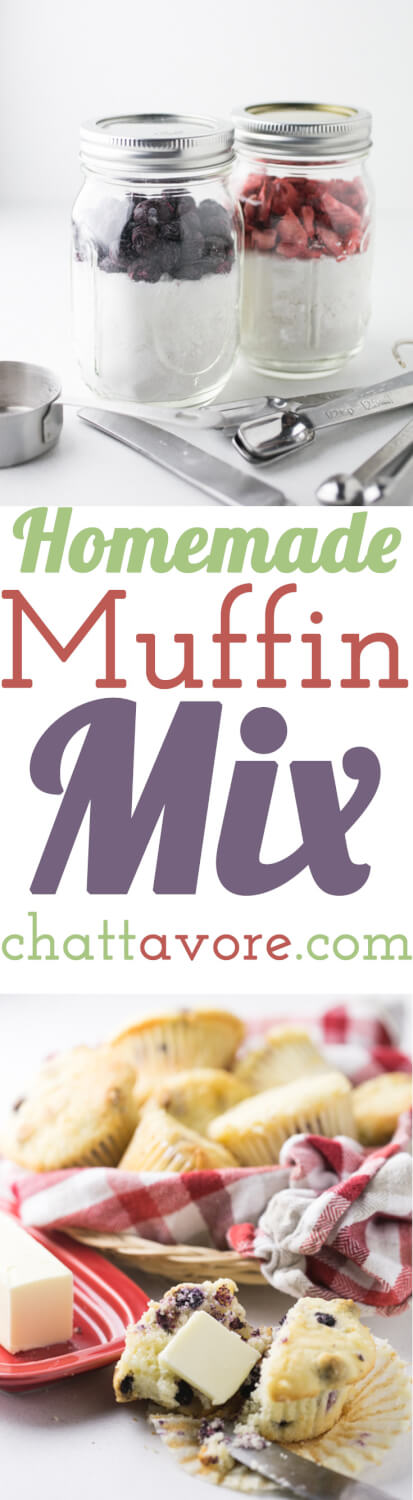 This homemade muffin mix is so easy to mix up and keep on hand to whip up a batch of muffins on a weekend morning or at night for weekday breakfasts!   Recipe from Chattavore.com
