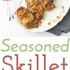 This seasoned skillet pork chops are come together in less than half an hour for a delicious weeknight dinner! The tangy sauce is perfect on the side. | Recipe from Chattavore.com