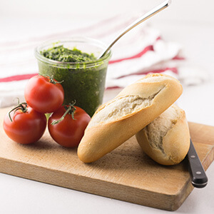 This kale pesto with almonds is a quick and easy sauce that is great on pasta, breads, and sandwiches or mixed into vegetable dishes.   Recipe from Chattavore.com