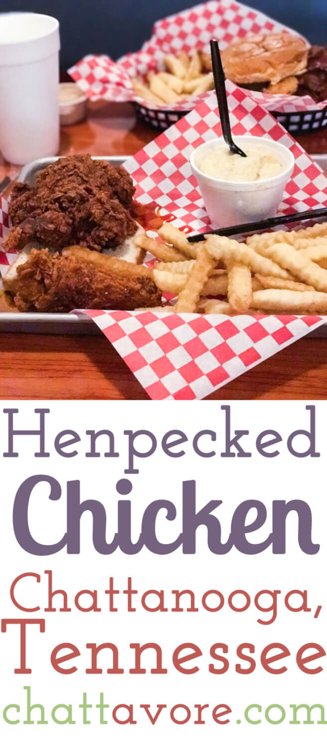 """Henpecked Chicken is a restaurant in downtown Chattanooga that serves smoked or fried chicken and boasts """"sober chicken and drunken milkshakes"""".   Restaurant review from Chattavore.com"""