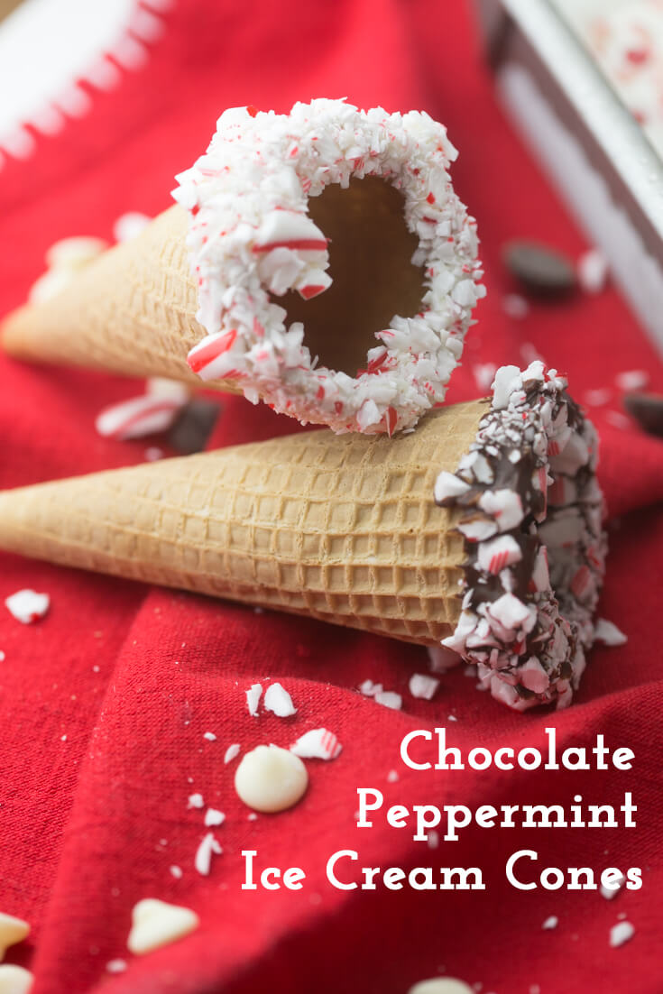 These chocolate peppermint ice cream cones are super-festive and perfect for serving your favorite ice cream this holiday season! #ChristmasDesserts #ChristmasCooking #HolidayCooking #HolidayDesserts #IceCreamCones #peppermint   Recipe from Chattavore.com