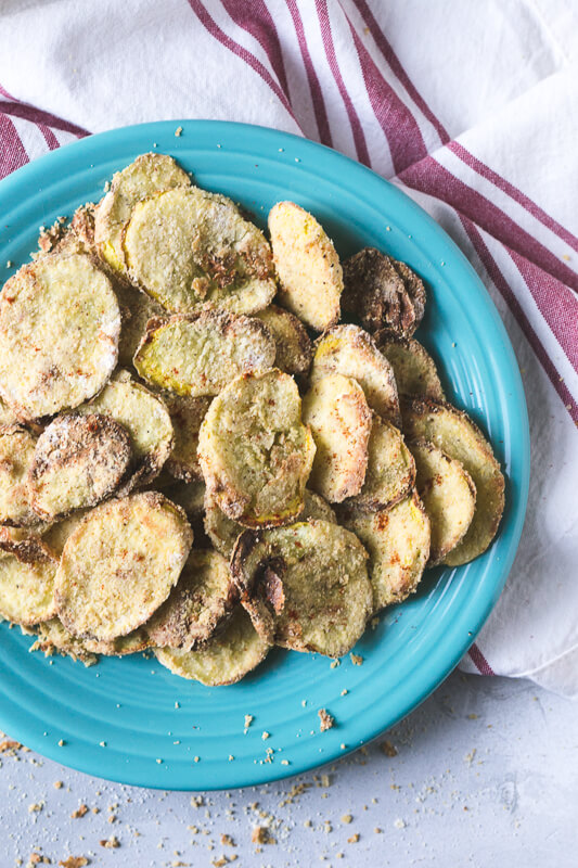 an overhead photograph of a plate of air fried yellow squash