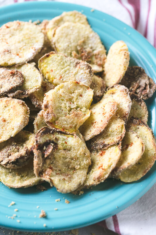 a close-up photograph of a plate of air fried yellow squash