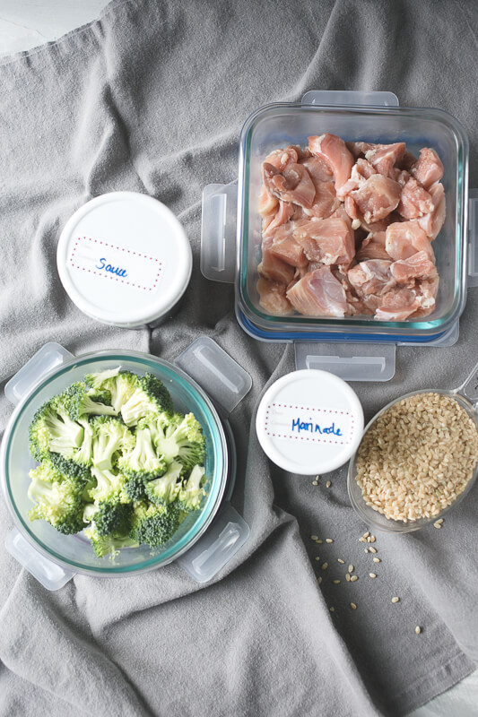 an overhead photograph of containers with items to make easy Chinese chicken