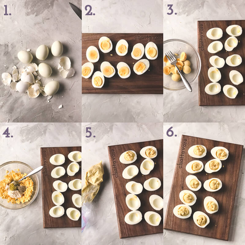 a photo collage showing the steps to make deviled eggs