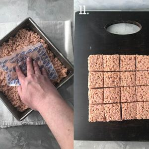 A photo collage showing some of the steps to make Strawberry Rice Krispies Treats