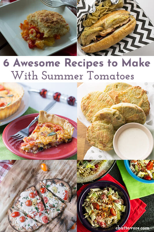 a photo collage showing various recipes to make with summer tomatoes