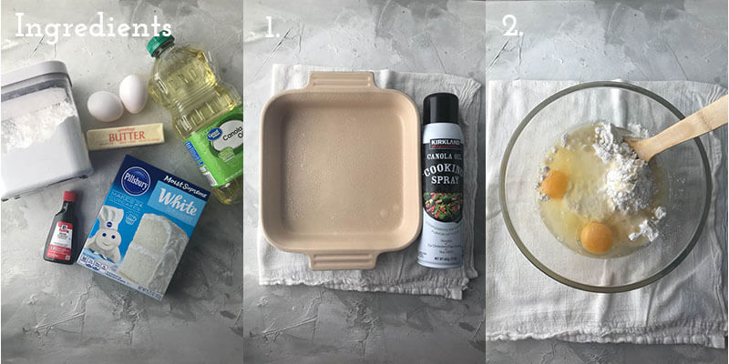a photograph showing the steps to make wedding cake bars