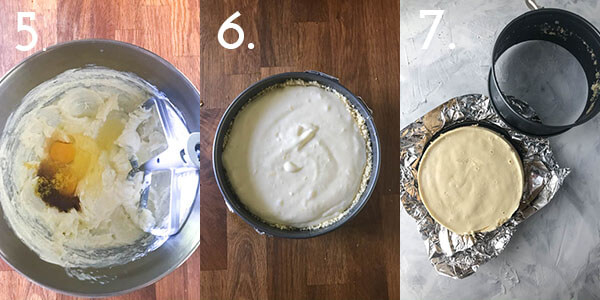 A photo collage showing steps 5-7 for making lemon cheesecake