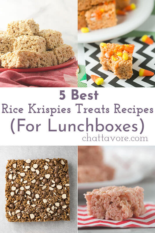 a photo collage showing four different types of Rice Krispies treats