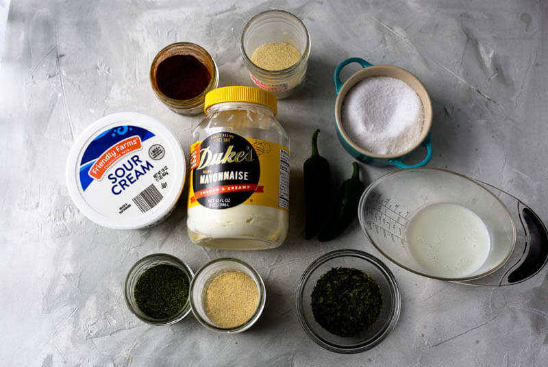 a photograph of the ingredients needed to make jalapeño-ranch dressing