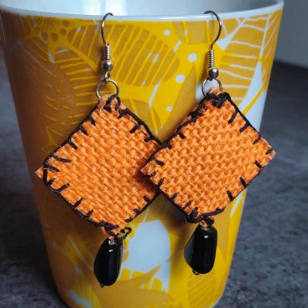 Ear Ring Jute Orange 1 https://chaturango.com/jute-made-ear-ring-orange/