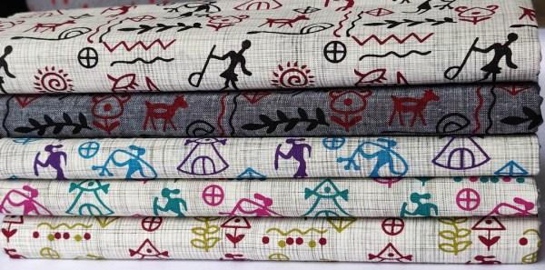 Fabric Egyptian Print Grey Red Black 4 https://chaturango.com/egyptian-print-cotton-fabric-grey-red-black/
