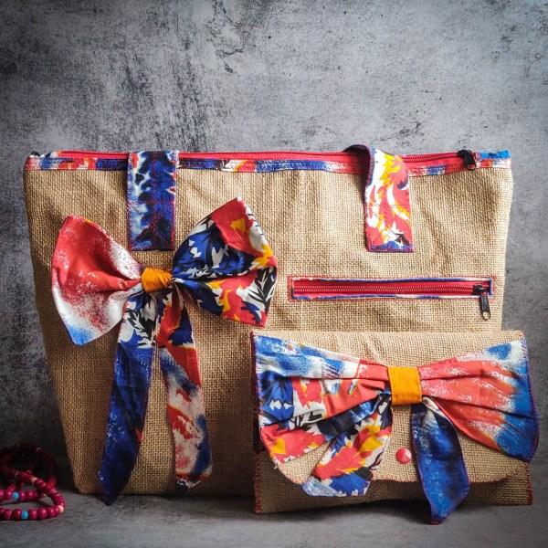 Handbag Jute Tote Bow Style 1 https://chaturango.com/bow-style-jute-tote-natural-colour/