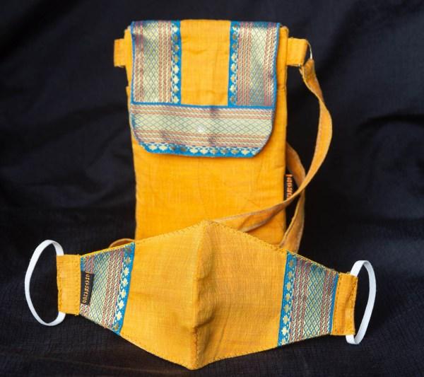 Handbag Sling Zari Border Yellow 2 https://chaturango.com/zari-bordered-sling-bag-for-women-yellow/