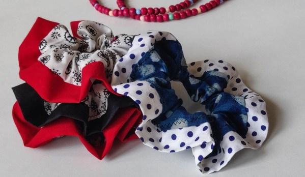 Scrunchie Black Abstract 4 https://chaturango.com/handmade-scrunchies-black-abstract-printed/