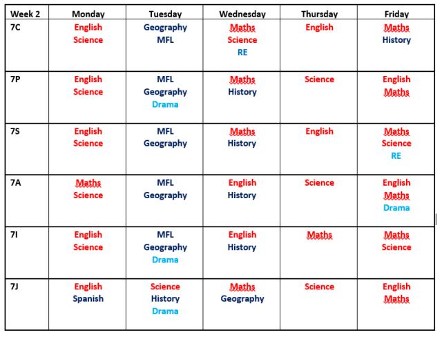 Year Seven Homework Timetable - Week Two