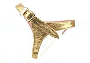 brides amovibles cuir lisse or pour escarpins