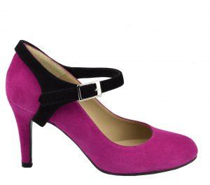 Escarpins petite taille daim rose et bride salomé