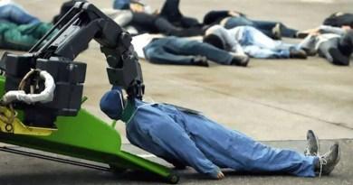 Aqui temos um robô projetado para coletar matéria orgânica...